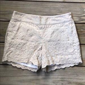 Anthropologie Eleveness Eyelet Scalloped Shorts